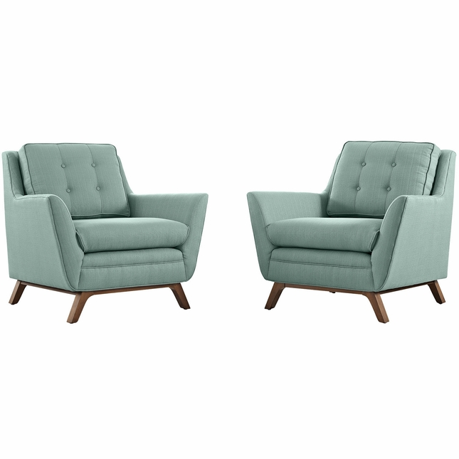 Mid-Century Modern Beguile 2pc Button-Tufted Fabric Living Room Set, Laguna