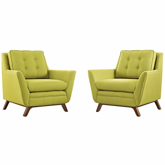 Mid-Century Modern Beguile 2pc Button-Tufted Fabric Living Room Set, Wheatgrass
