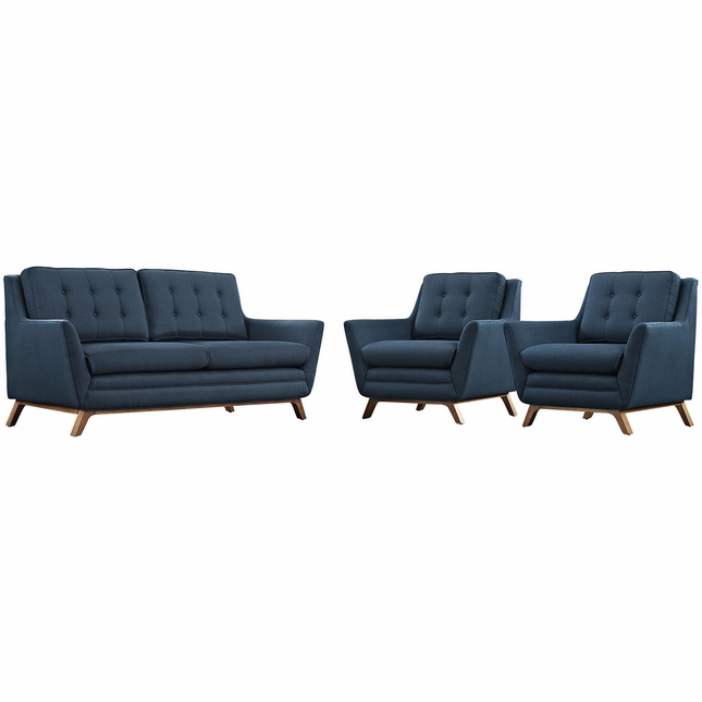 Mid-Century Modern Beguile 3-pc Fabric Living Room Set, Azure