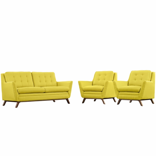 Mid-Century Modern Beguile 3-pc Fabric Living Room Set, Sunny