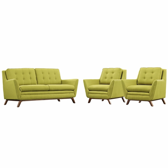 Mid-Century Modern Beguile 3-pc Fabric Living Room Set, Wheatgrass