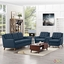 Mid-Century Modern Beguile 3pc Button-Tufted Fabric Living Room Set, Azure