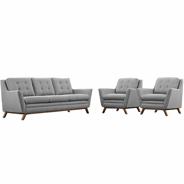 Mid-Century Modern Beguile 3pc Fabric Living Room Set, Expectation Gray