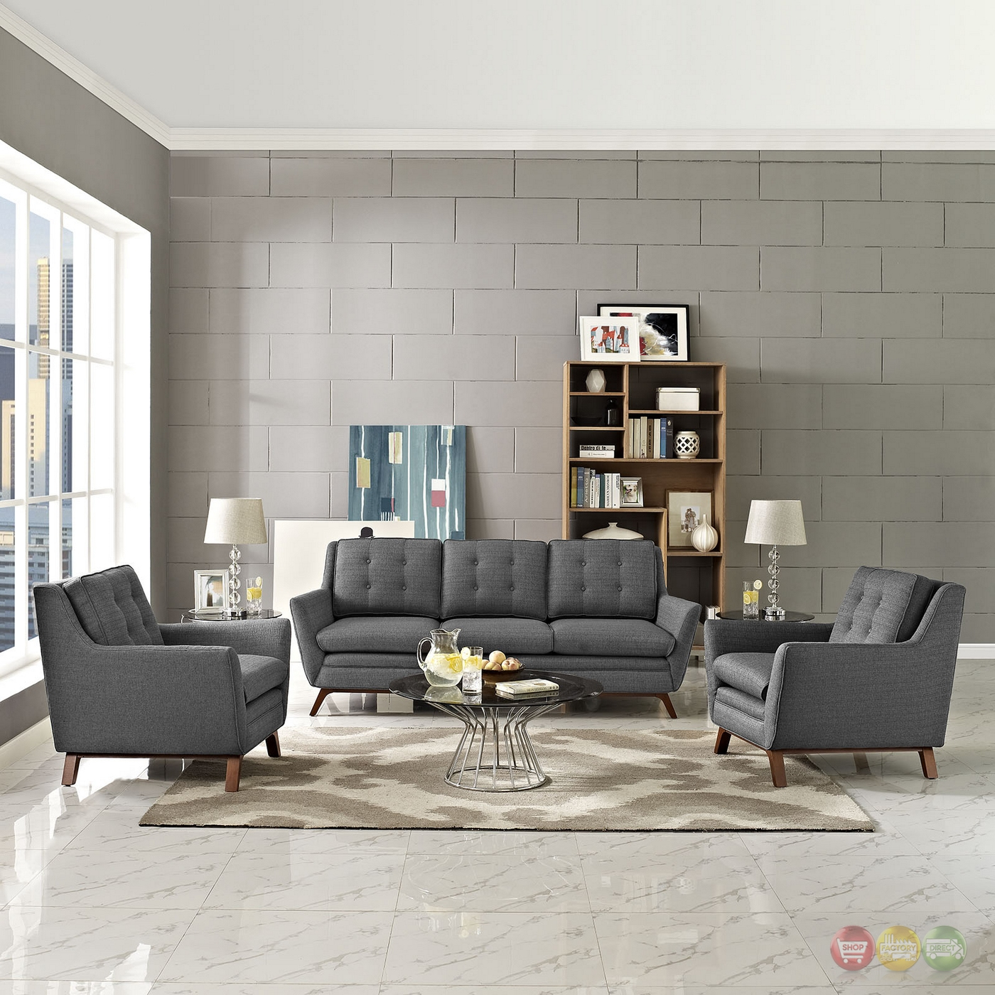 Beguile Contemporary 3pc Button Tufted Fabric Living Room Set Gray