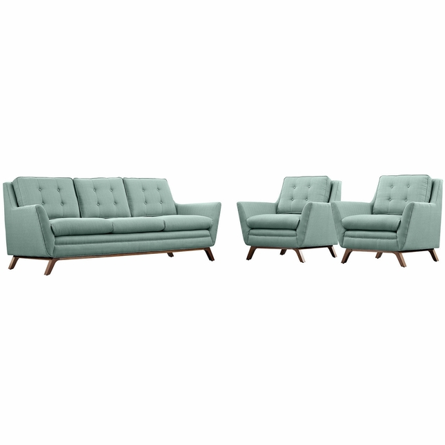 Mid-Century Modern Beguile 3pc Button-Tufted Fabric Living Room Set, Laguna