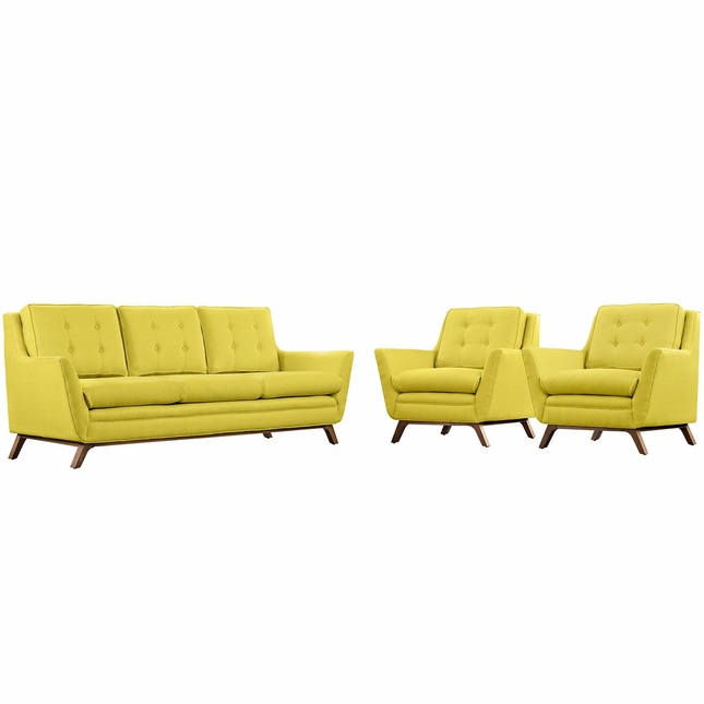 Mid-Century Modern Beguile 3pc Button-Tufted Fabric Living Room Set, Sunny
