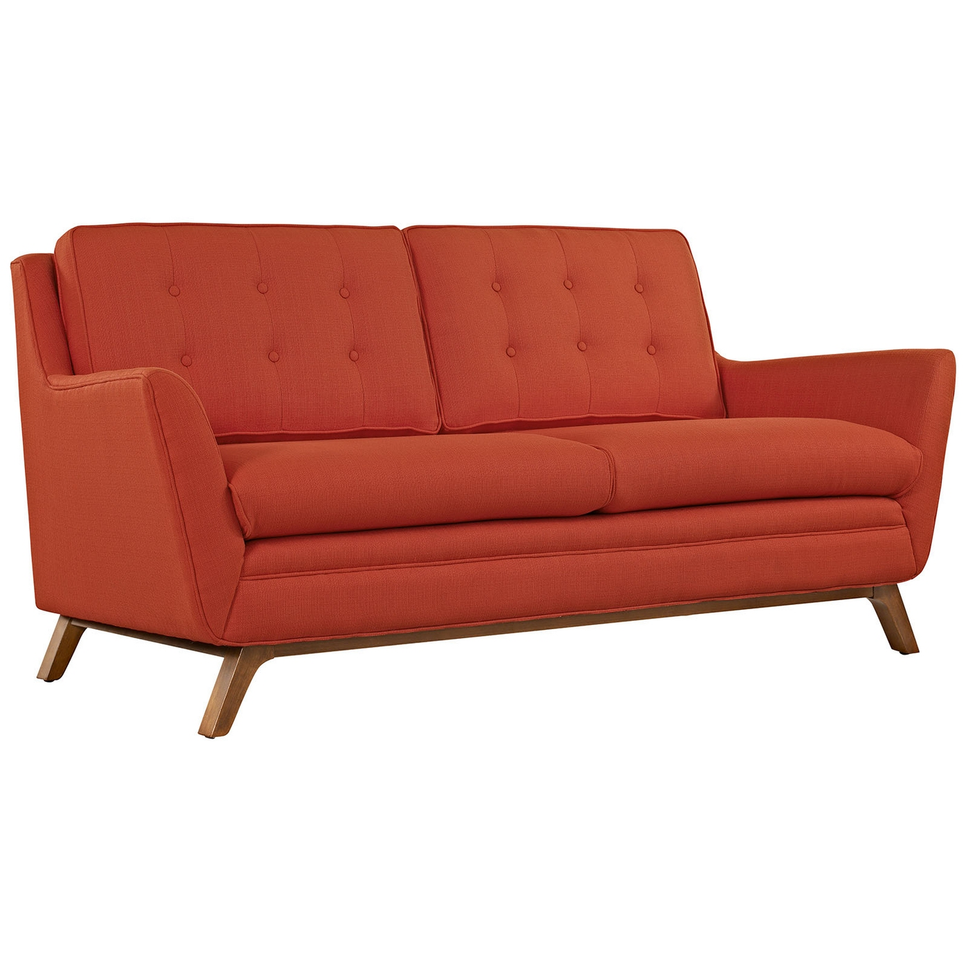 Beguile Contemporary Button Tufted Upholstered Loveseat Atomic Red