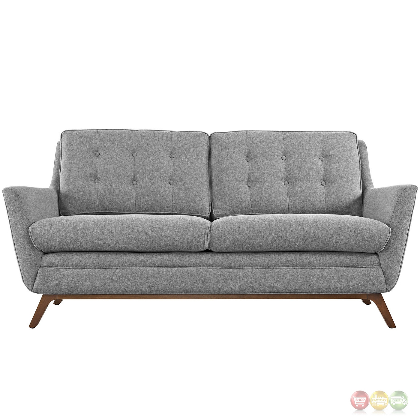 Beguile Contemporary Button Tufted Upholstered Loveseat Expectation Gray