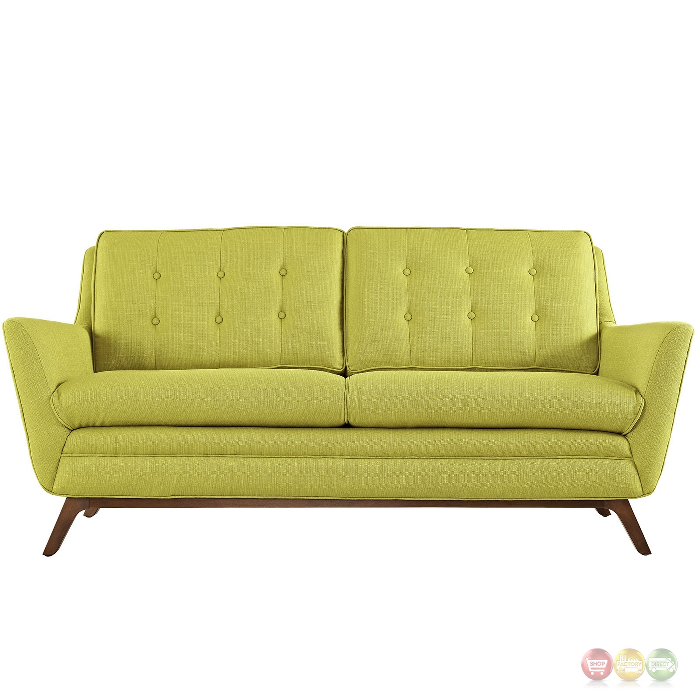 Beguile Contemporary Button Tufted Upholstered Loveseat Wheatgrass