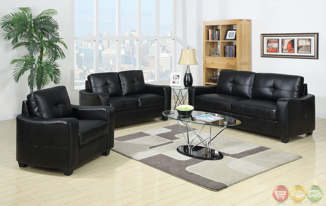belfast contemporary black living room set with bonded leather match cm6112. Black Bedroom Furniture Sets. Home Design Ideas