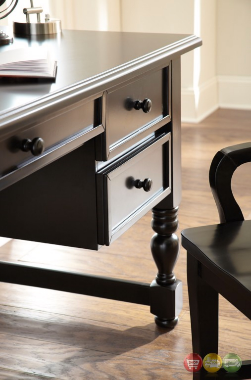 """Bella 54"""" Cottage Black Writing Desk With Pull-out ..."""
