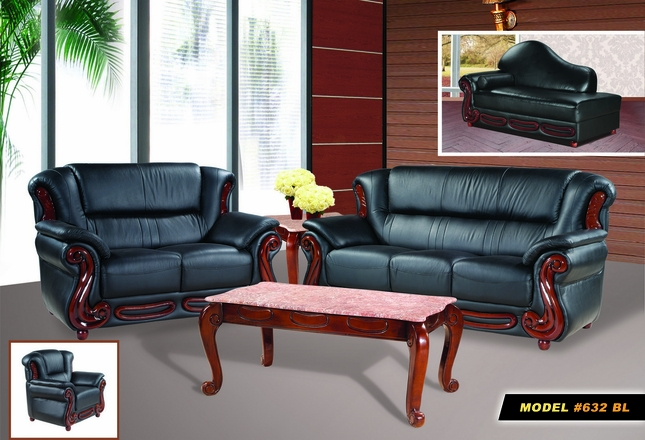 Bella Black Bonded Leather Sofa Loveseat Set W Cherry Wood Accents