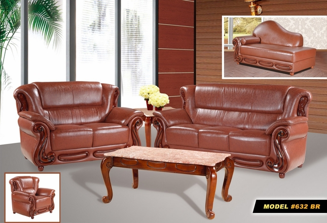Bella Caramel Bonded Leather Sofa & Loveseat Set with Cherry Wood Accents