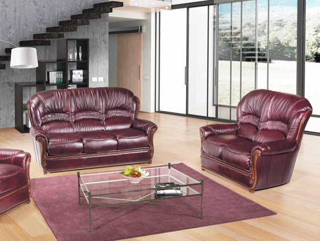 Bella Burgundy Traditional Italian Leather Sofa Loveseat Set With