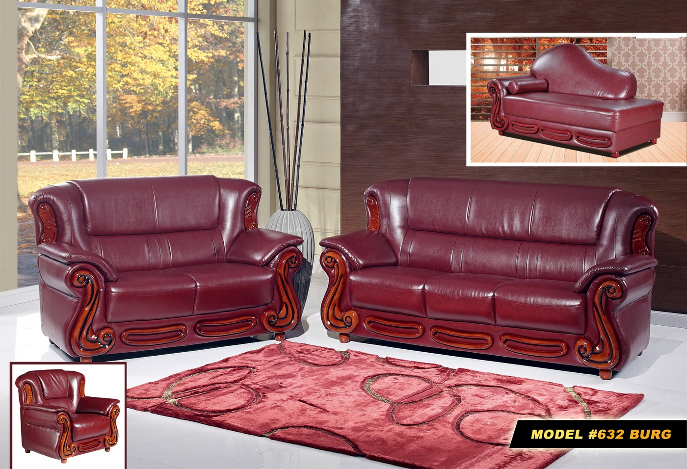 Bella burgundy traditional leather chaise with wood accents for Burgundy leather chaise