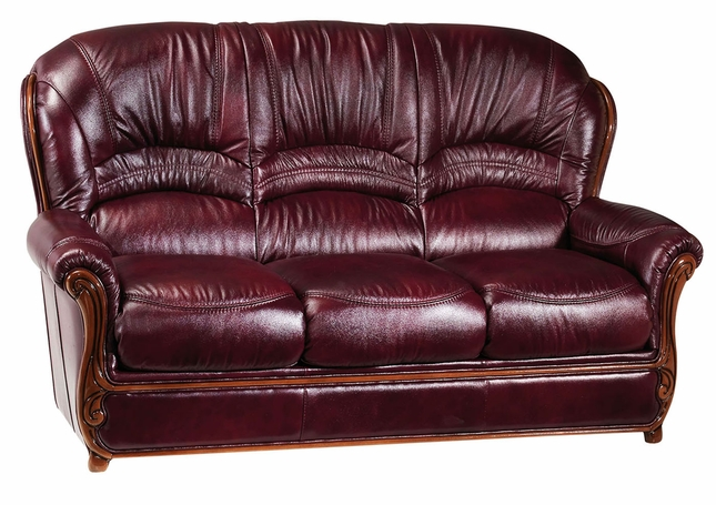 Relatively Bella Burgundy Traditional Leather Sofa With Wood Accents LQ72