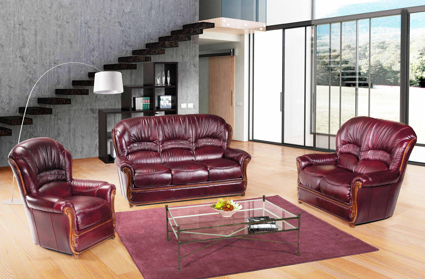 Bella Burgundy Traditional Leather Sofa With Wood Accents