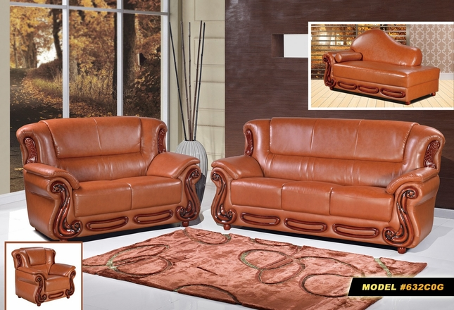Bella Classic Sofa & Loveseat in Cognac Bonded Leather & Cherry Wood Accents