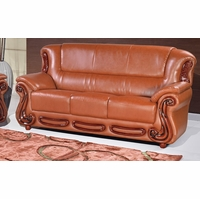 ... Bella Classic Cognac Bonded Leather Sofa W/Cherry Wood Accents