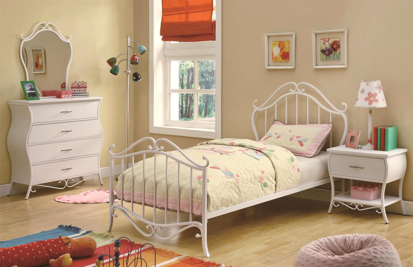 Bella Fairy Tale Design White Scroll Twin Youth Bed