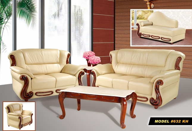 Bella Classic Sofa & Loveseat Set in Khaki Bonded Leather & Cherry Wood Accents