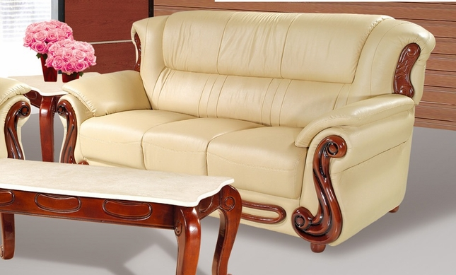 Bella Khaki Leather Italian Sofa With Wood Accents