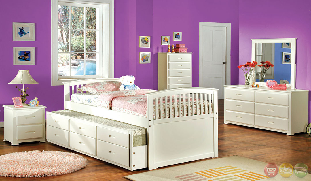 bella mission white platform bedroom set with trundle and