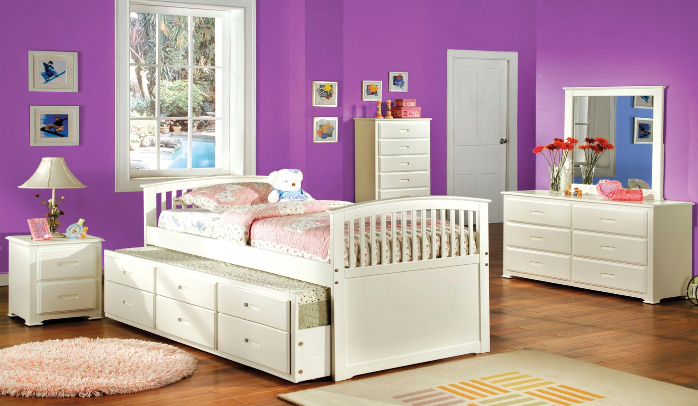 Bella mission white platform bedroom set with trundle and 3 drawers cm7035w White twin trundle bedroom set
