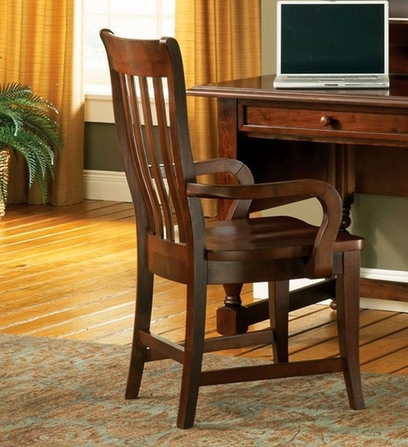 Bella Slat Back Solid Wood Cottage Arm Chair In Medium ...