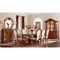 Bella Veneto Traditional 5pc Wood Dining Table Set in Cognac Finish