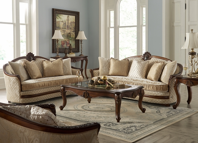 Bella Veneto Casual Beige Sofa & Loveseat Set With Cognac Finish