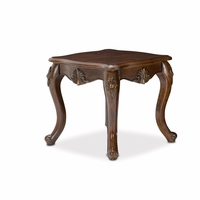 Bella Veneto Classic Cognac Wood Top End Table with Carved Frame