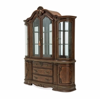 Bella Veneto Traditional 4-Door Lighted China Cabinet in Cognac Wood Finish