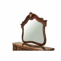 Bella Veneto Traditional Beveled Dresser Mirror in Cognac with Stone Inlay