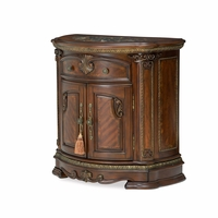 Bella Veneto Traditional Nightstand w/ Marble Inlay Top in Cognac Finish