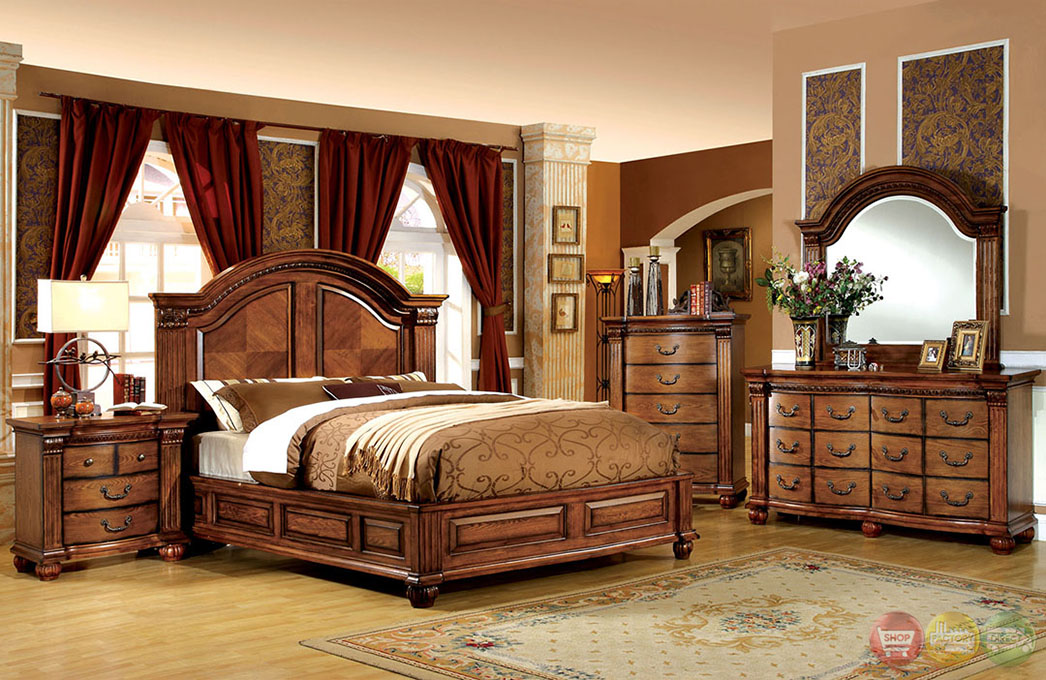 Bellagrand luxurious antique tobacco oak bedroom set with for 3 bedroom set