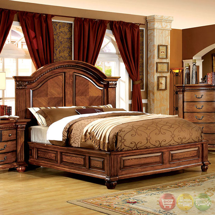 Bellagrand luxurious antique tobacco oak bedroom set for Vintage bedroom furniture