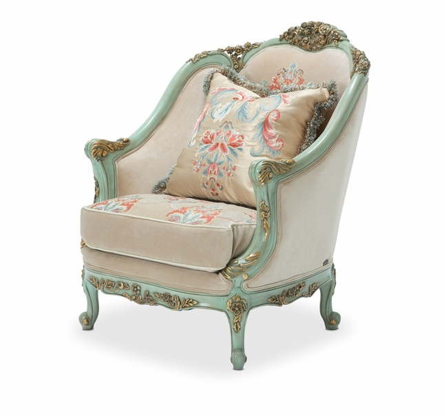 Belle Fleur Luxury Sea Glass Embroidered Chair With Bullion Skirt Trim