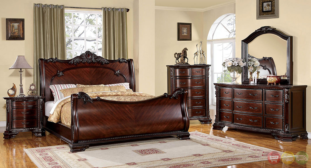 Bellefonte baroque brown cherry sleigh bedroom set with for Cherry wood bedroom furniture