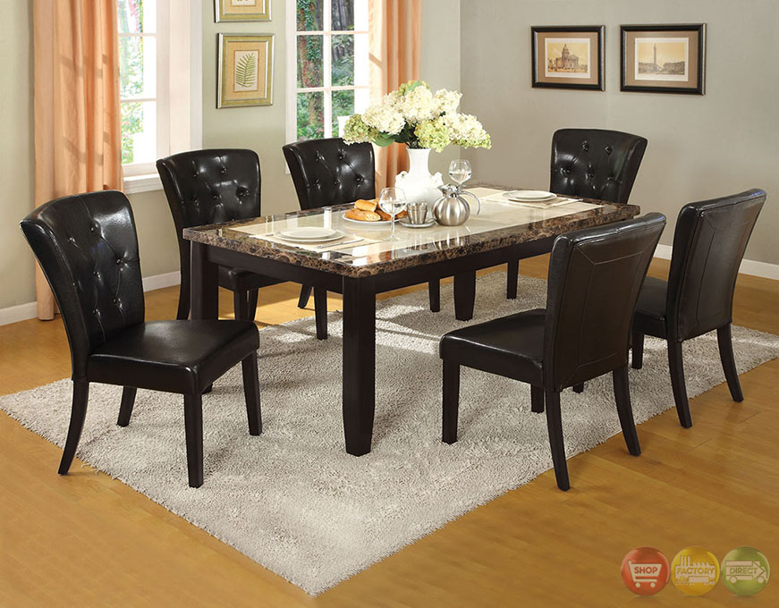 Belleview i black casual dining set with faux marble table Black marble dining table set