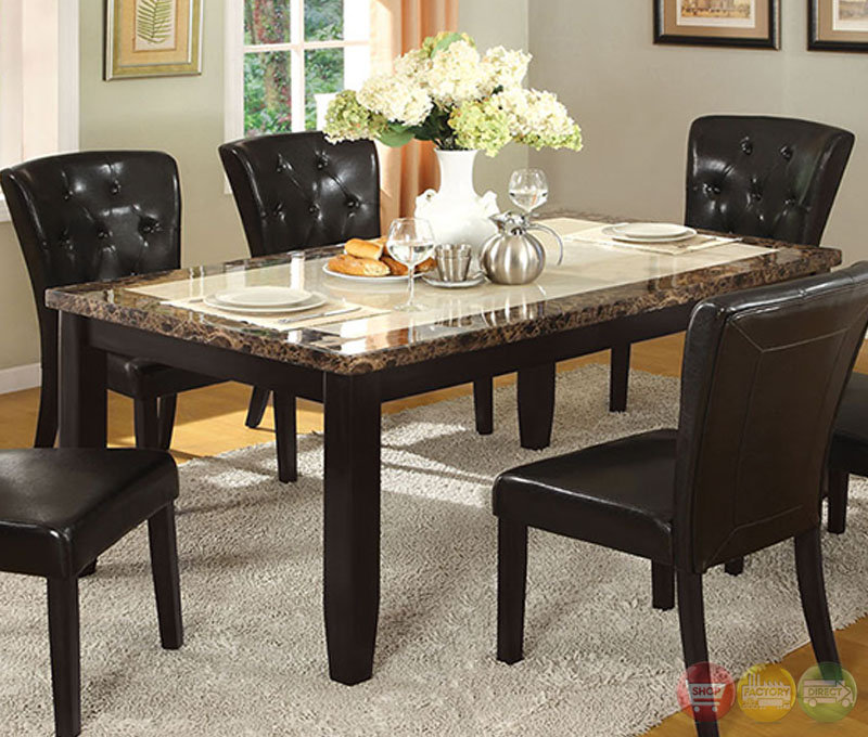 Belleview i black casual dining set with faux marble table for Casual dining table set