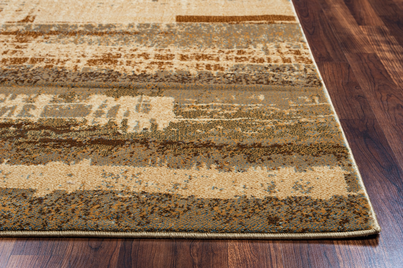 "Grey Tan And Brown Area Rug: Bellevue Abstract Banded Area Rug In Tan & Gray, 9'2"" X 12'6"""