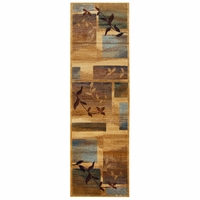 """Bellevue Soft Loom Runner Area Rug 2'3 x 7'7"""" Tan Khaki Brown Blue Red Abstract"""
