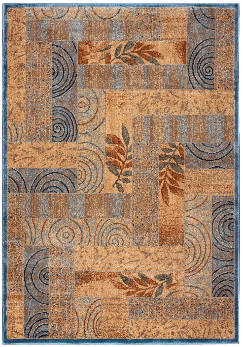 Bellevue Abstract Multi Pattern Area Rug In Blue Amp Tan 5