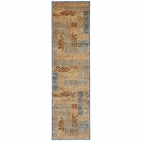"""Rizzy Bellevue Soft Loom Runner Area Rug 2'3 x 7'7""""Blue Tan Khaki Brown Abstract"""