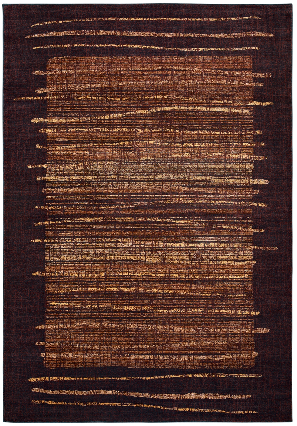 Bellevue Abstract Rustic Lines Area Rug In Black Amp Ivory