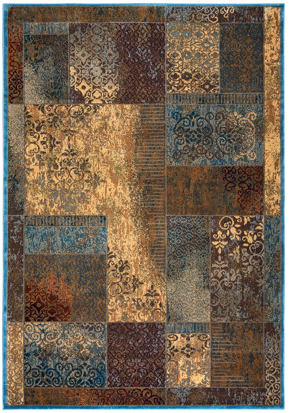 Bellevue Antiqued Patchwork Area Rug In Beige Blue