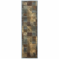 """Home Bellevue Soft Loom Runner Area Rug 2'3 x 7'7""""Tan Khaki Brown Blue Red Patch"""