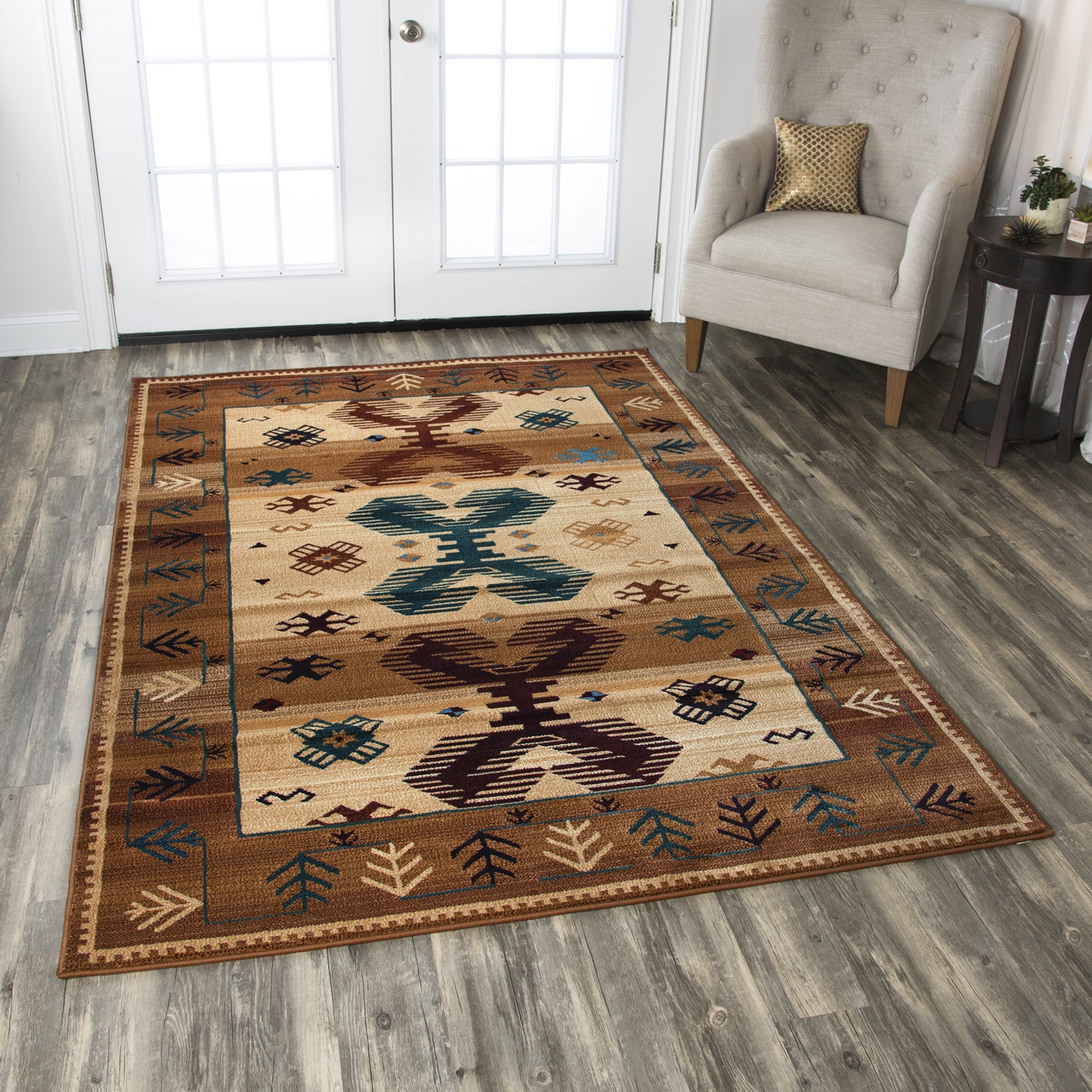 Tribal Rug Nz: Bellevue Border Southwest Tribal Area Rug In Earthy Colors
