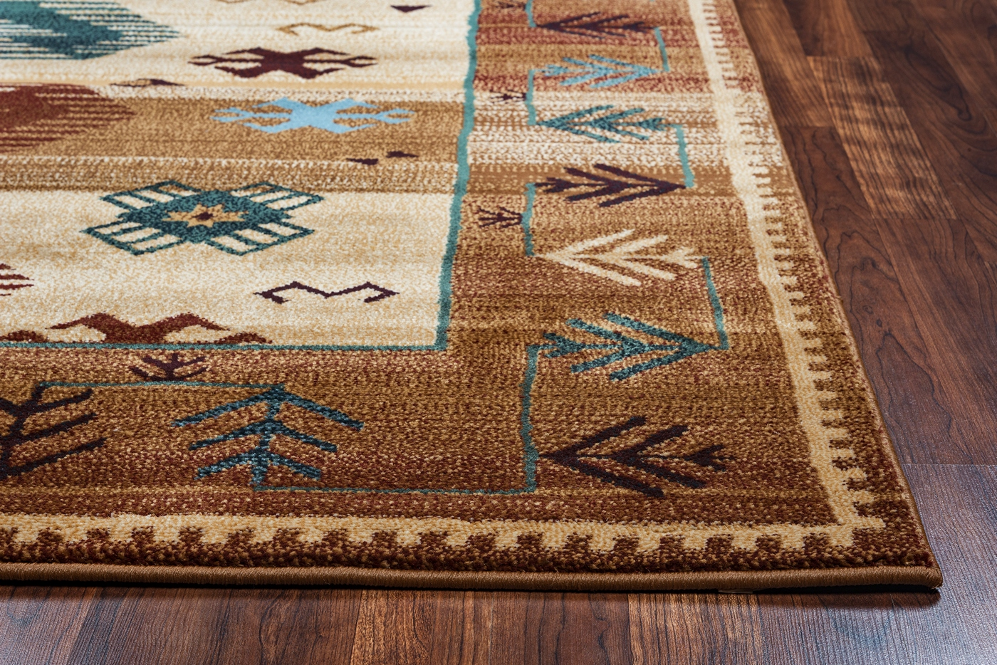 Bellevue Border Southwest Tribal Area Rug In Earthy Colors